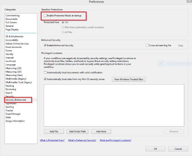 adobe reader dc protected mode
