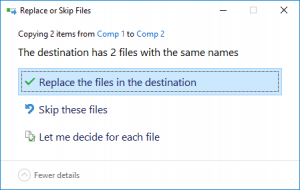 Opting to simply replace the files in the destination folder