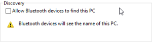 Make sure Allow Bluetooth devices to find this PC option is enabled